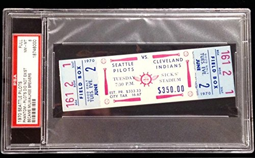 SEATTLE PILOTS vs INDIANS June 2 1970 Full Unused Phantom Game Ticket Stub PSA 8