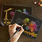 Arts & Crafts : Lago Scratch Coloring Postcard Fireworks / Set of 4 / 1 Scratch Stylus