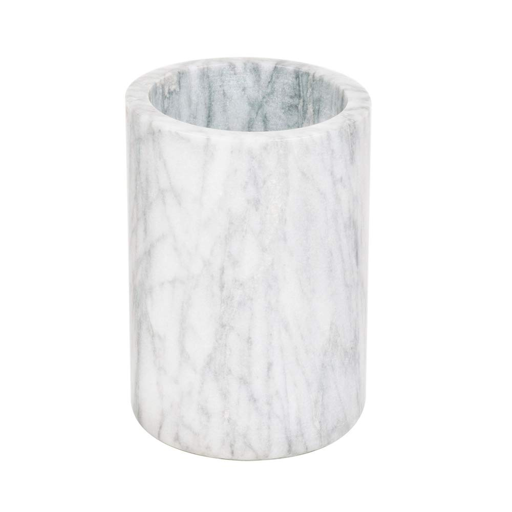 Marble Wine Cooler/Champagne Chiller, Natural White Marble, 6 x 4-Inch Elegant Wine Bottle Chiller - Marble Utensil Holder by Tezzorio
