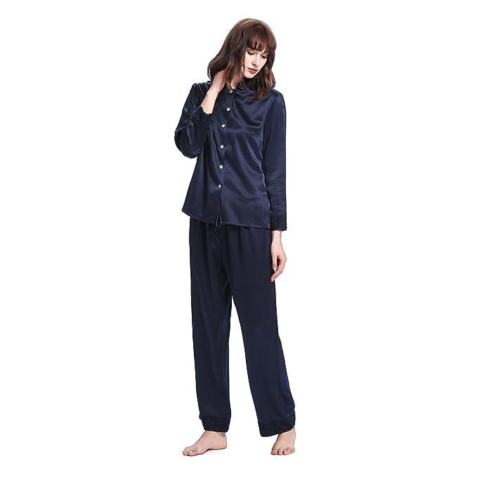 Llilysilk Conjunto De Pijamas Largo Elegante De Seda De 22 Momme