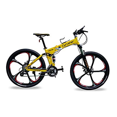 Cyrusher New FR100 Shimano M310 ALTUS Full Suspenion 24 Speeds Folding Mens Mountain Bike Bicycle 17 in * 26 in Aluminium Frame Disc Brakes 5 Spokes Rims