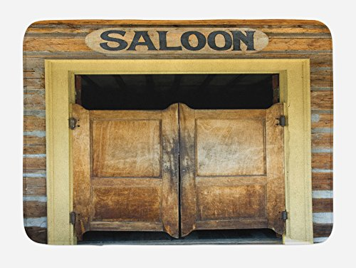 Lunarable Western Bath Mat, Authentic Saloon Doors of Old Western Building in Montana Ghost Town Print, Plush Bathroom Decor Mat with Non Slip Backing, 29.5 W X 17.5 W Inches, Mustard Sand Brown ()