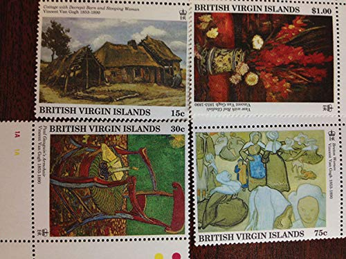 (Vincent Van Gogh - 4 Impressionist Paintings - Beautiful Collectors Stamps - British Virgin Islands)