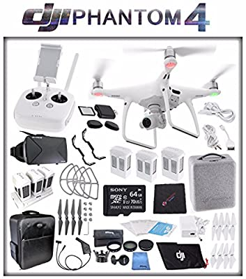 DJI Phantom 4 Quadcopter + Sony 64GB microSDXC Card + DJI Intelligent Flight Battery (3X TOTAL) + Card Reader + Cloth + Backpack + Multi Charger Hub + Adapter + 2 Pairs Propeller Blades (Grey) Bundle