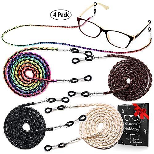 Eye Glasses String Holder Chain - Premium ECO Leather Eyeglass Lanyards Straps Cords for Men and Women - Glasses Holders Around Neck