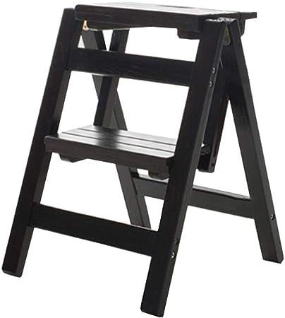 Plegables pasos de escalera Escalera plegable de 2 pasos Escalera/Escalera de madera Escalera plegable multifunción Taburete Biblioteca en casa Escalera, Negro: Amazon.es: Hogar