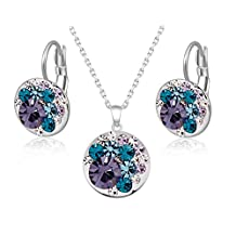 Sale At Cut-throat Prices 26 Colours Cheap Multicolour Crystal Round Earring Necklace Ring Bracelet Jewelry Set