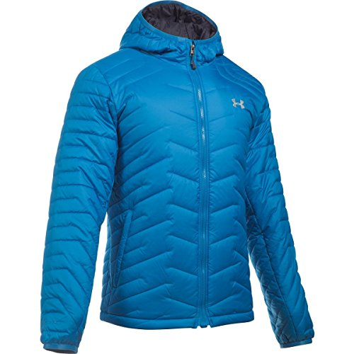 Under Armour hombres Coldgear Reactor con capucha de la chaqueta Brilliant Blue/Overcast Gray
