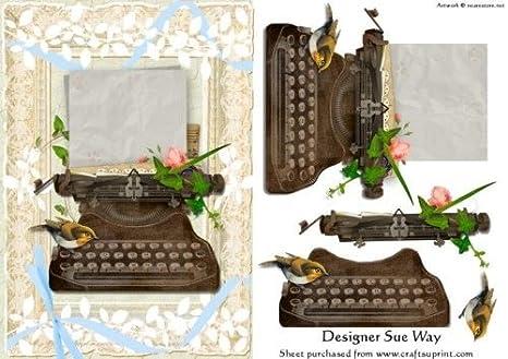 Vintage máquina de escribir con letra Decoupage por Sue manera