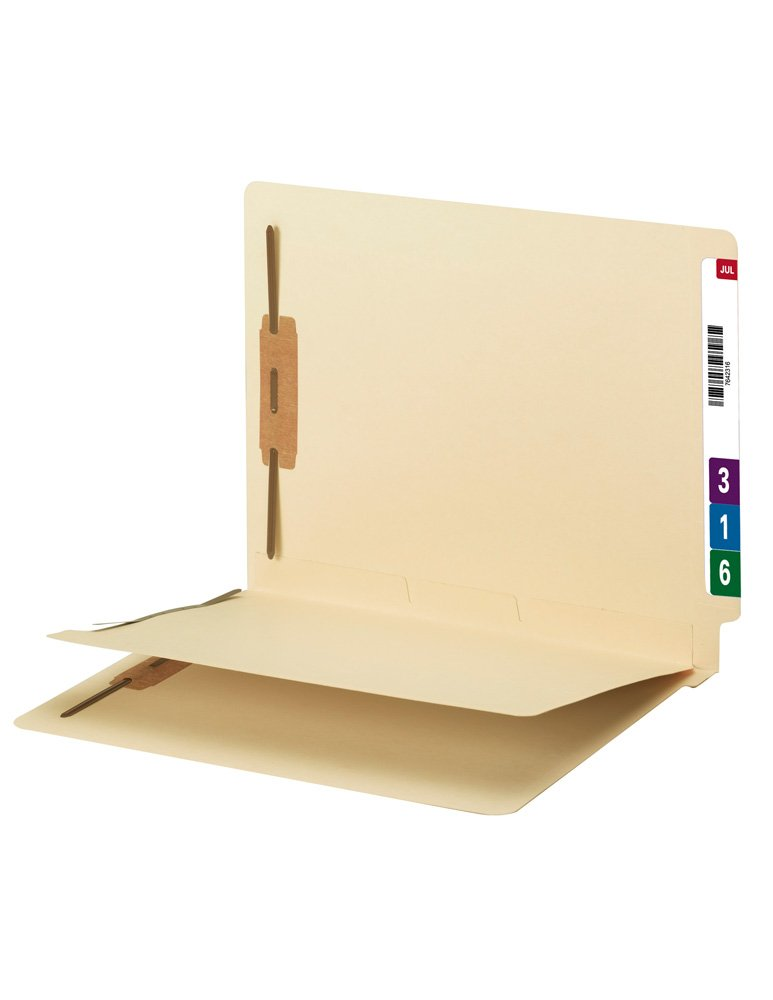Smead End Tab Fastener File Folder with Divider, Shelf-Master Reinforced Straight-Cut Tab, 2 Fasteners, 1 Divider, Letter Size, Manila, 50 per Box (34220)