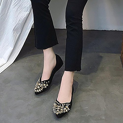 Hatop Pumps Shoes, Women Shallow Flat Heel Imitation Diamond Shoes Nude Pointed-Toe Shoes Black