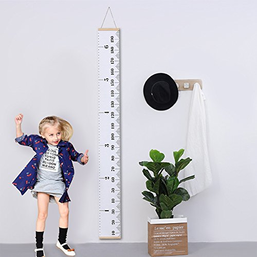 AUKUK Baby Height Growth Chart Ruler Kids Roll-up Canvas Height Chart Removable Wall Hanging Measurement Chart Wall Decor with Wood Frame for Kids Nursery Room,Easy to use for long-term (79'' X 7.9'') by AUKUK (Image #7)