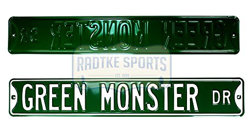 Boston Red Sox Green Monster Dr. Officially Licensed Authentic Steel 36x6 Green & White MLB Street Sign - Green Sox Kelly