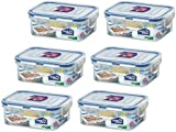 6 X Lock & Lock Rect 350ml Food Container HPL806