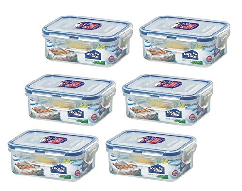 LOCK & LOCK Airtight Rectangular Food Storage Container 11.83-oz / 1.48-cup (Pack of 6)