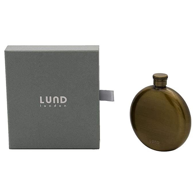 Lund Luxe Stainless Steel Plated Round Hip Flask Antique Brass