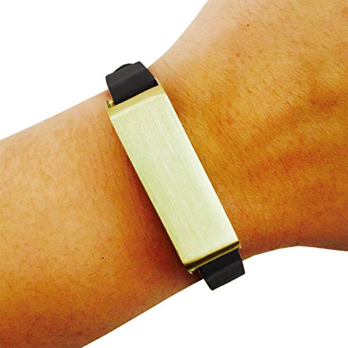 Fitbit Bracelet for FitBit Flex Fitness Trackers - The KATE Single-Strap Brushed Metal and Genuine Leather Buckle Fitbit Bracelet (Black and Gold, (Studded Wristband Single)