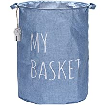 "Sea Team 19.7"" Large Sized Collapsible Waterproof Coating Blended Fabric Laundry Hamper Bucket Cylindrical Burlap Canvas Storage Basket (Blue)"