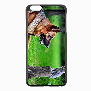 iPhone 6 Plus Black Hardshell Case 5.5inch - dog grass german shepherd Desin Images Protector Back Cover