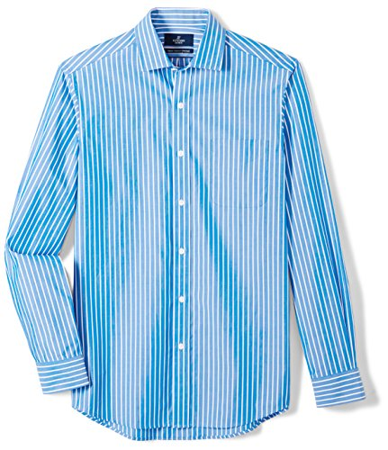 BUTTONED DOWN Men's Classic Fit Supima Cotton Spread-Collar Pattern Dress Casual Shirt, Large Blue Stripe, 14-14.5