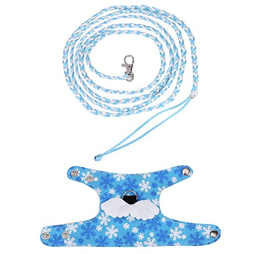 HEEPDD Hamster Harness, Adjustable Cotton Walking Vest Lead Leash with Angel Wings and Safe Bell for Hamster Gerbil Ferret Chinchillas Squirrel Small Animals(Light Blue)