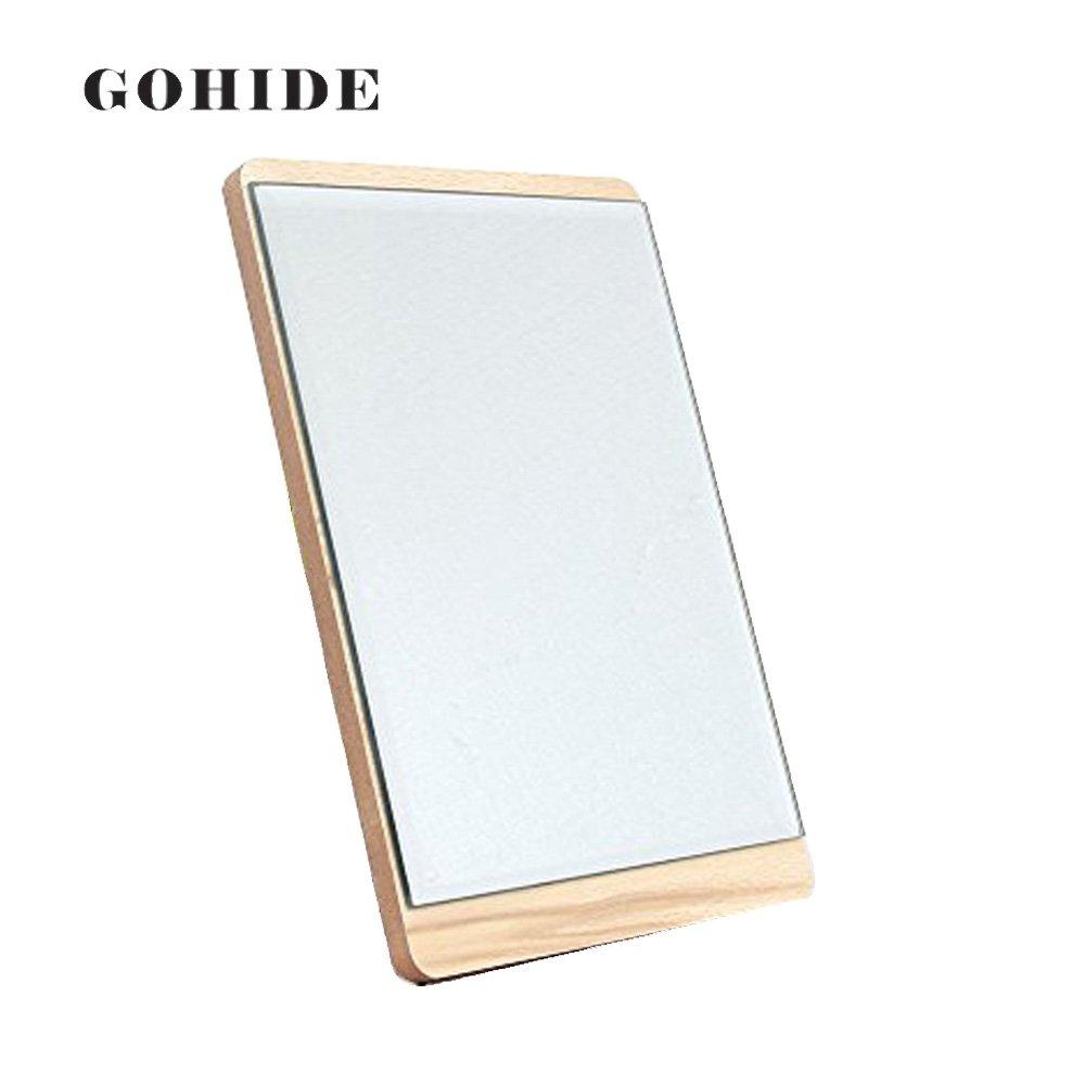 GOHIDE DUH A Fashion Brief Natural Wood Mirror Desktop Makeup Mirror Bathroom Wall Portable Princess Dressing Mirror