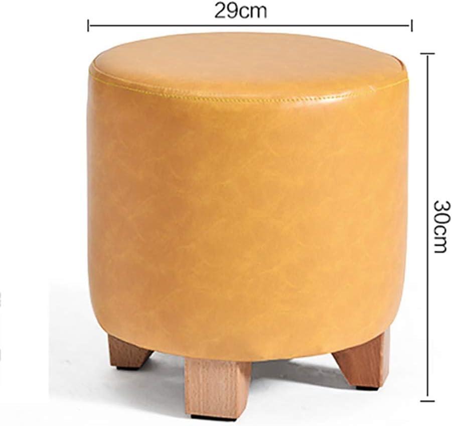 Aufbewahrungshocker Hocker und Fußbänke, Klein Pedal Massivholzschuh Bank Zylinder PU-Holzbein Heim Sofa - 29X30cm (Color : Black) Red