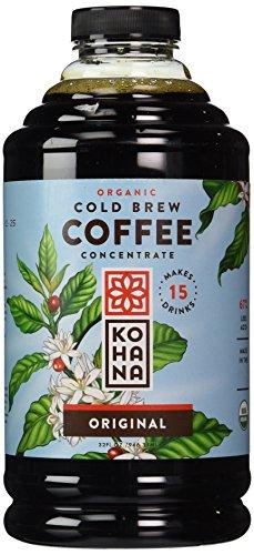 Kohana Cold Brew Organic Coffee Concentrate, Original Flavor, 32 ounces, Fair Trade Coffee, Iced Coffee, Energy Drink, Low-Acid Instant Coffee, Gluten Free, Vegan, Serves 6-8
