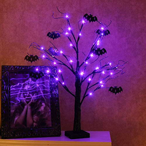 Vanthylit 2FT 24LED Black Spooky Tree Glittered with Purple Lights and Bat Decorations Battery Powered Tabletop Bonsai Tree Decoration for Halloween and ()