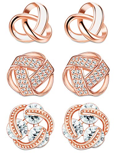 ORAZIO Love Knot Earrings for Women Girls Knot Stud Earrings Set Bridesmaids Gifts Rose Gold Tone