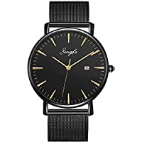 SONGDU Men's Fashion Date Slim Analog Quartz Watches with Stainless Steel Mesh Band (Gold and Black)