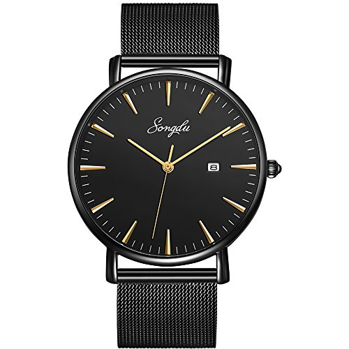 SONGDU Men's Fashion Date Slim Analog Quartz Watches with Stainless Steel Mesh Band (Gold and Black) ()