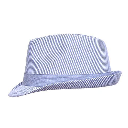UPF 50+ Fedora Hat | Chambray Stripe Seersucker ()