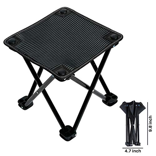 Mini Portable Folding Stool, Folding Camping Stool, Ultralight Outdoor Camping Chair for Camping, Hiking, Fishing, Travel, Beach, Garden, Barbecue, Quickly Fold Chair Stool with Carry Bag (Black) by Gelma