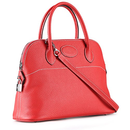 Shoulder Handle Red Hobo Ainifeel Handbag Shell Top Bag Bag Padlock Women's nwqSASRT