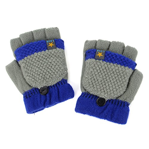 Flammi Unisex Kids Knitted Convertible Flip Top Gloves Mittens (Grey)