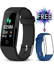 JAZIPO Fitness Armband mit Pulsmesser, Wasserdicht IP67 Fitness Tracker Farbbildschirm mit GPS Aktivitätstracker Pulsuhren Smartwatch Schrittzähler Kompatibel [2 x Replaceable Watch Strap]