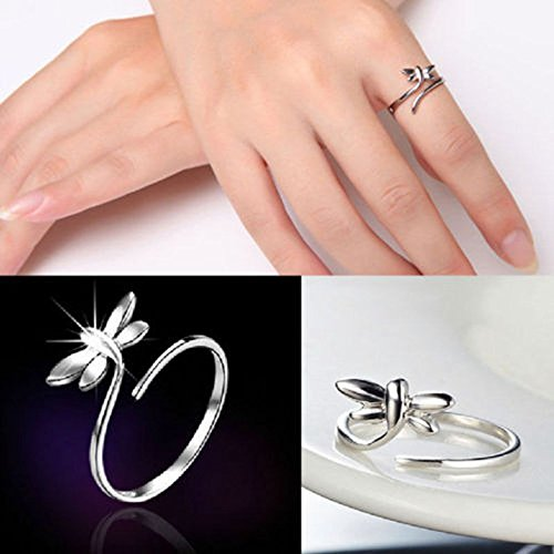Hot Latest Popular Women Silver Pretty Dragonfly Open Size Rings Jewellery Gift LOVE STORY nogluck