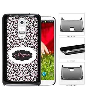 Pink/Black/White Leopard Cheetah Animal Print CUSTOM MONOGRAM NAME LG G2 Hard Snap on Plastic Cell Phone Case Cover