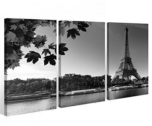 Leinwand 3 tlg. schwarz weiß Paris Eiffelturm Skyline Stadt Bild Wandbild 9A337, 3 tlg BxH 120x80cm (3Stk 40x 80cm)