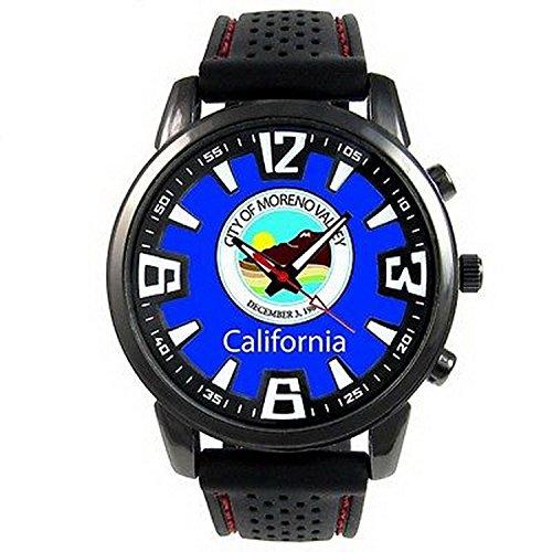 JWS0015 Moreno Valley US City Flag Mens Style Black Silicone Quartz Wrist Watch