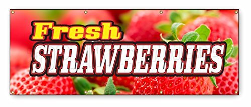 3 x 8 ft FRESH STRAWBERRIES BANNER SIGN fruit stand produ...