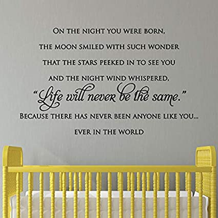 Amazoncom Wall Quote Decal On The Night You Were Born Nursery