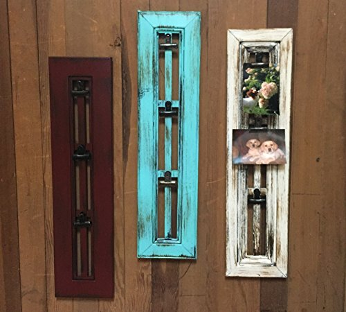 PHOTO HOLDER with CLIP Window Shutter / Picture Frame - Reclaimed Wood Distressed Rustic Blue Red Cream White