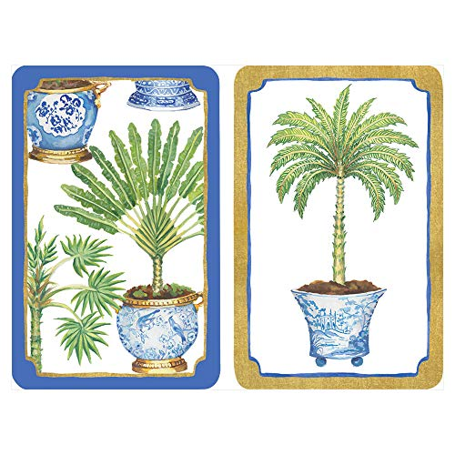 Caspari Potted Palms Large Type Playing Cards, 2 Decks Included