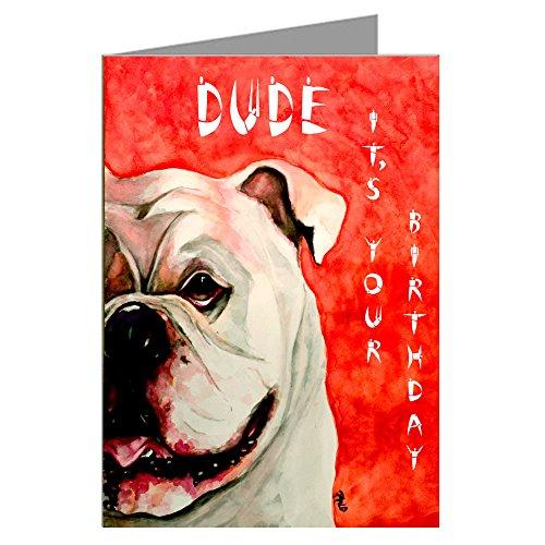 Single Greeting Card of Vintage English Bulldog Painting Original Artwork By Philo Happy ()