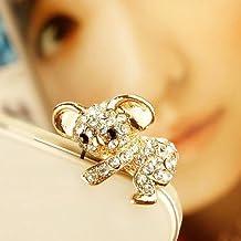 ZOEAST Bling Luxury Golden Koala Bear Panda Dust Plug 3.5mm Phone Headphone Jack Earphone Ear Cap Dust Plug Charm iPhone 4 4S 5 5S 6 6S Plus Huawei Samsung iPad iPod etc (Koala Gold)
