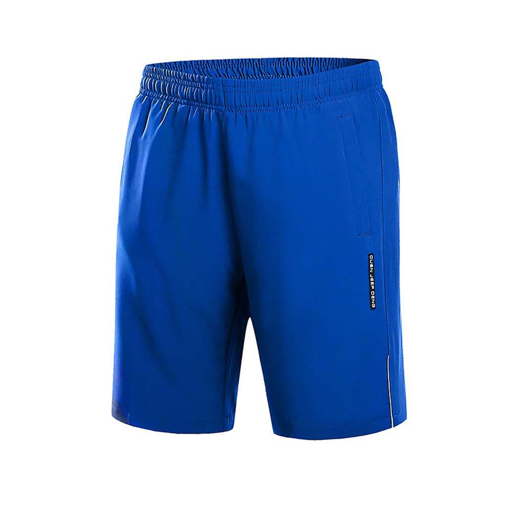 Sonnena ❤️ Pantaloncini da Uomo Sportivi da Spiaggia Sciolti Pantaloni Corti Estate Tempo Libero Moda Colore Solido Classico Corsa L, Nero
