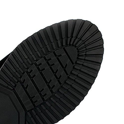 Amoonyfashion Mujeres Solid Low Heels Round Botas Cerrado Cerrado Con Cremallera De Ante Imitación Negro