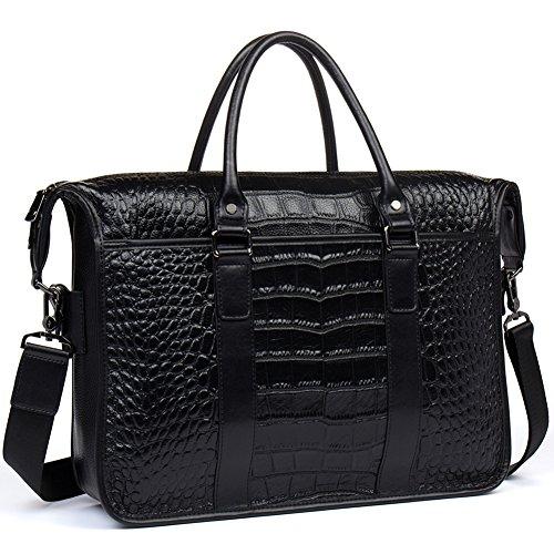 Womens 2 size Crocodile Grain Leather Handbag Shoulder bag (Black) - 3